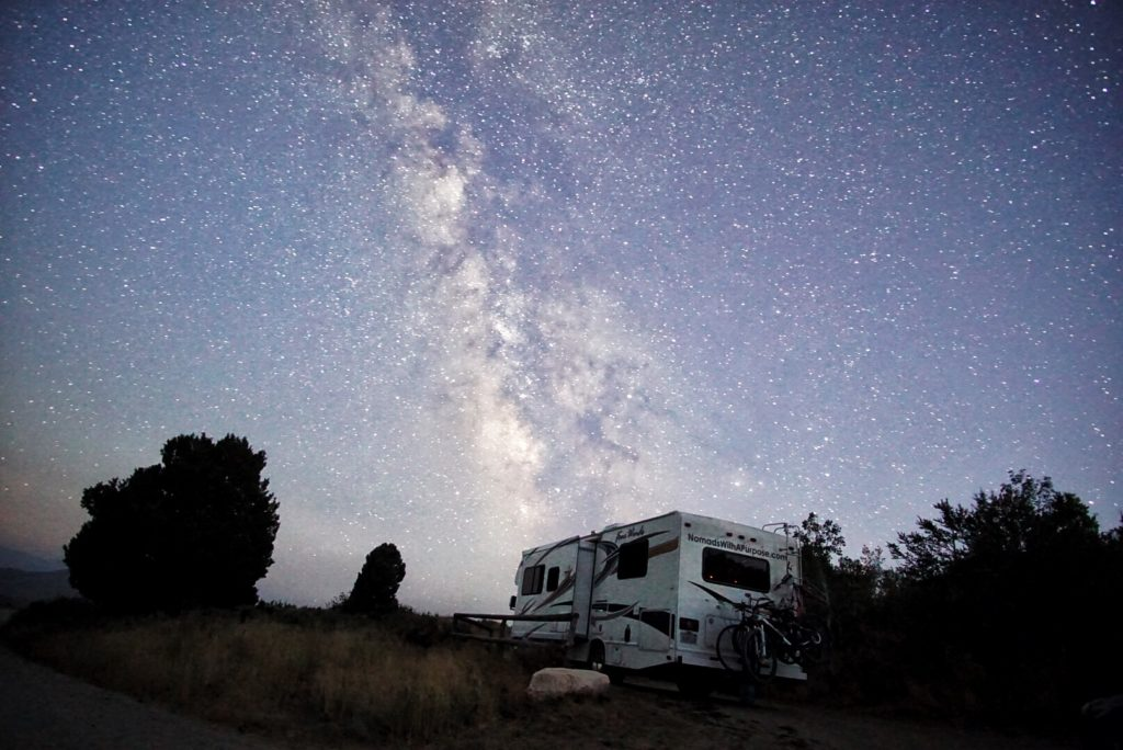 Milky Way and RV in City of Rocks