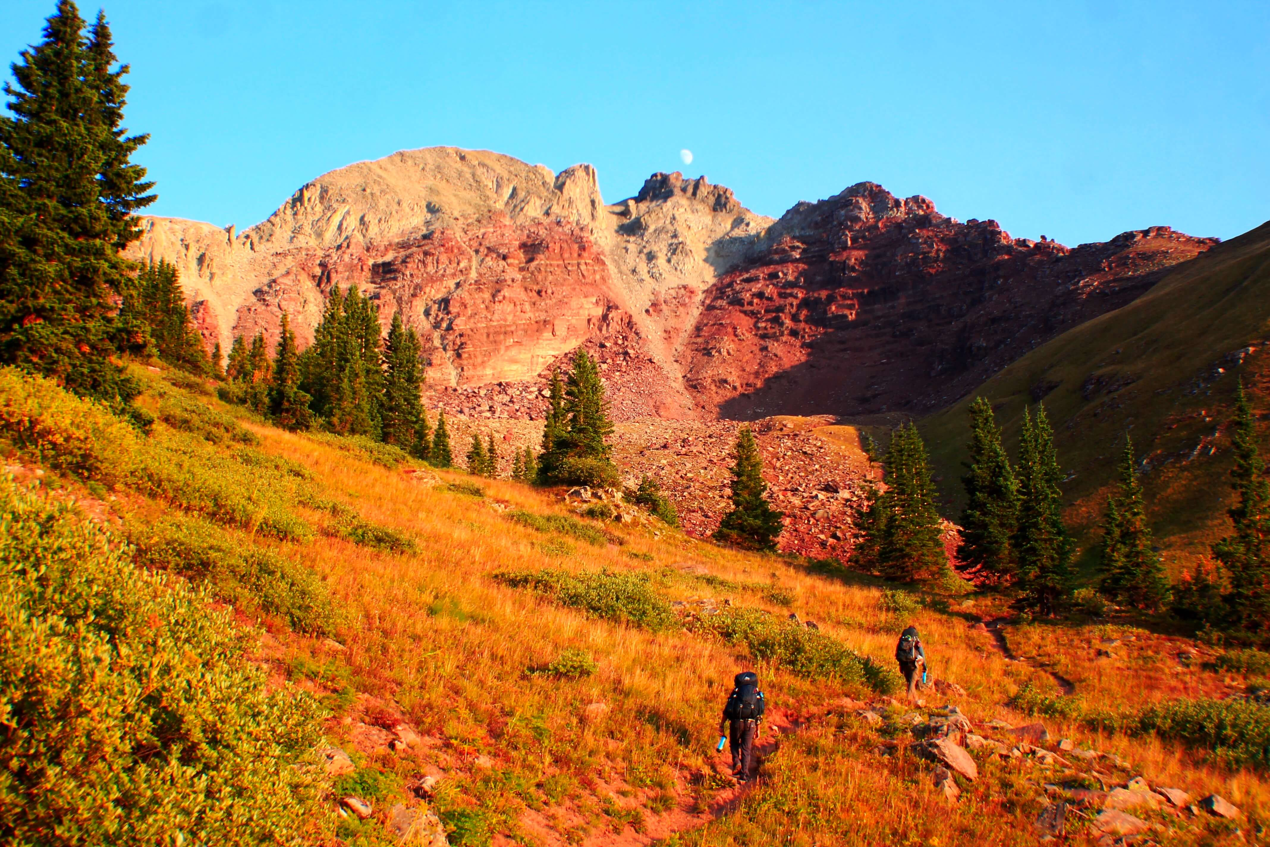 Ascending Buckskin Pass, Backpacking the Maroon Bells Four Pass Loop