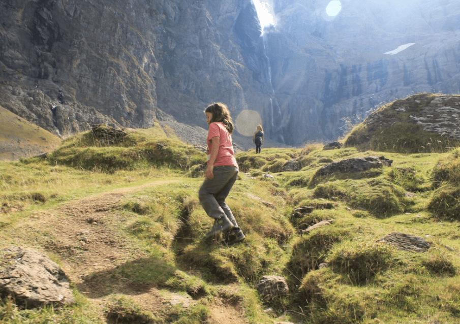 Scrambling on our hike up to the Best Day Hike in the French Pyrenees, Cirque De Gavarnie